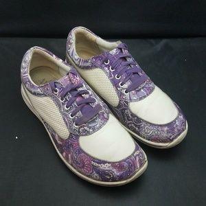 Womans Alegria White/Purple Leather Lace-up Shoes